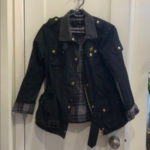 barbour international black wax jacket with belt